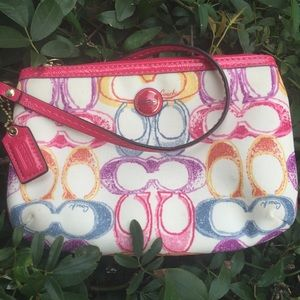 Coach pink and white wristlet purse wallet